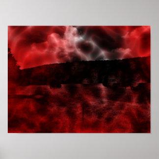 Surreale Landschaftrotes und schwarzes dunkles Poster