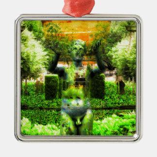 Surrealer Renaissance-Garten Quadratisches Silberfarbenes Ornament