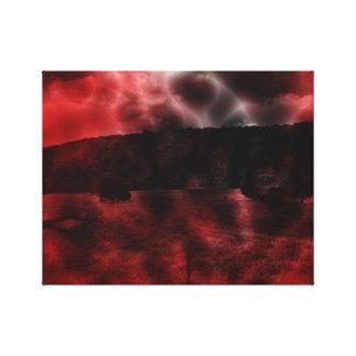 Surreales Dreamscape rotes und schwarzes dunkles Leinwanddruck