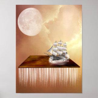 Surreales Himmel-Schiffs-Plakat Poster