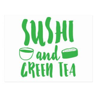 Sushi und grüner Tee Postkarte