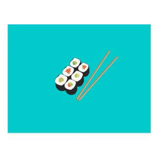 Sushirollen mit Essstäbchen Postkarte