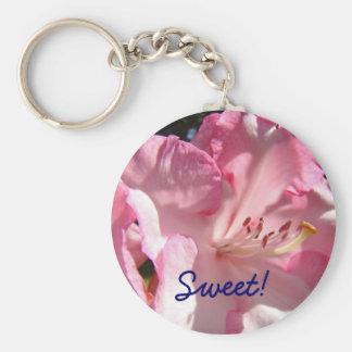 Süß! Schlüsselketten keychain rosa Rhodie Blume Standard Runder Schlüsselanhänger