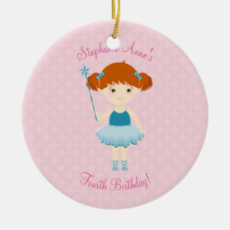 Süße Ballerina-Kuchen-Feier Rundes Keramik Ornament
