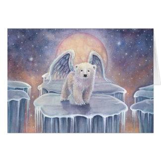 Süße Eisbär-CUB-Engels-Tier-Fantasie-Kunst Karte