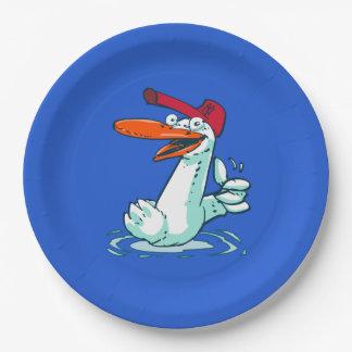süße Ente auf dem See-Cartoon Pappteller