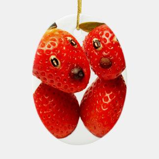 Süsse Erdbeer-Freunde Ovales Keramik Ornament