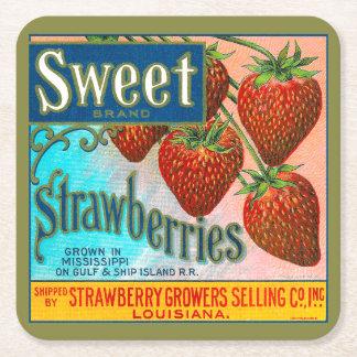 Süße Erdbeeren Rechteckiger Pappuntersetzer