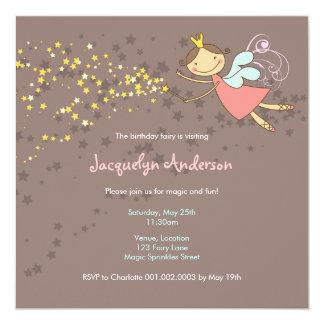 Süße Fee-und Stern-Geburtstags-Foto-Einladung Quadratische 13,3 Cm Einladungskarte
