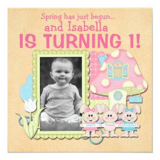 Süße Frühlings-Häschen-erster Geburtstag Quadratische 13,3 Cm Einladungskarte