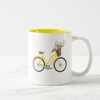 Süße gelbe Fahrrad-Tasse Zweifarbige Tasse