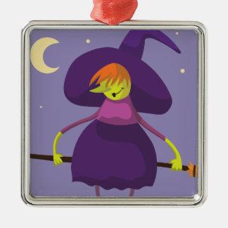 Süsse-Hexe mit Besen Halloween Silbernes Ornament