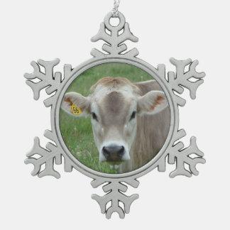 Süße Jersey-Kuh-Schneeflocke Schneeflocken Zinn-Ornament
