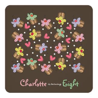 Süße Kirschkuchen-Kindergeburtstag-Einladung Quadratische 13,3 Cm Einladungskarte