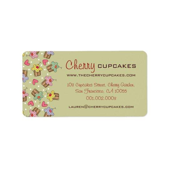 Süße Kirschkuchen-Süßigkeiten-Bäckerei niedlich Adressetiketten