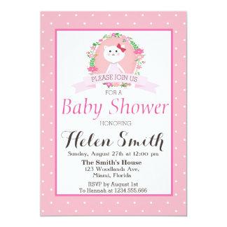 Süße kleine Miezekatze mit BlumenKranz-Babyparty Karte