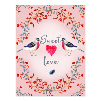 Süße Liebe-Vogel-u. Blumen-Karte Postkarte