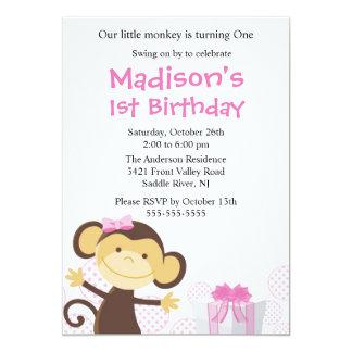 Süße Mädchen-Affe-Geburtstags-Einladung 12,7 X 17,8 Cm Einladungskarte