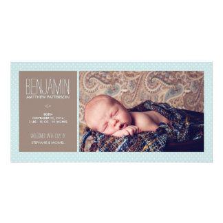 Süße Moment-Foto-Baby-Jungen-Geburts-Mitteilung Bild Karte