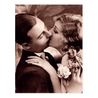 Süße Paar-Vintage Postkarte
