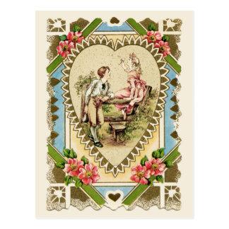 Süße Paare in der Herz-Rahmen-Vintagen Wiedergabe Postkarte