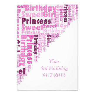 Süße Prinzessin, Geburtstag Individuelle Ankündigungen