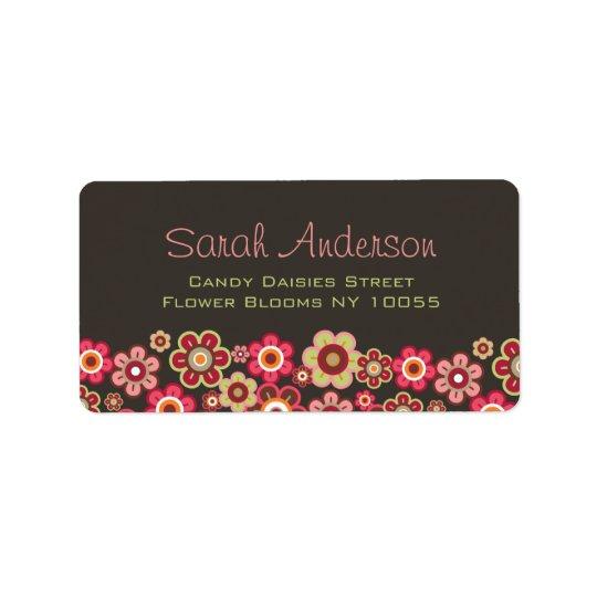 Süße rosa Süßigkeits-Gänseblümchen-Blumen-Girly Adressaufkleber