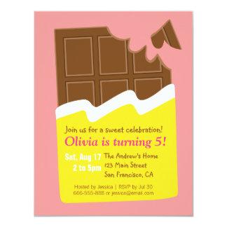 Süße Schokoladen-Bar-Süßigkeits-Geburtstags-Party 10,8 X 14 Cm Einladungskarte
