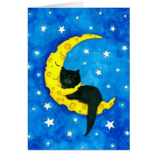 Süße Traum-Katze auf dem Mond durch Bihrle Karte