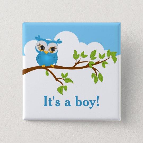 Süßer Baby-Eulen-Jungen-Babyparty-Knopf Quadratischer Button 5,1 Cm