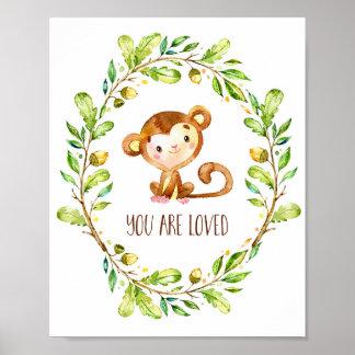 Süßer Brown-Aquarell-Affe werden Sie geliebt Poster