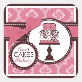 Süßer Kuchen-Aufkleber-Geschäfts-Aufkleber Quadratischer Aufkleber