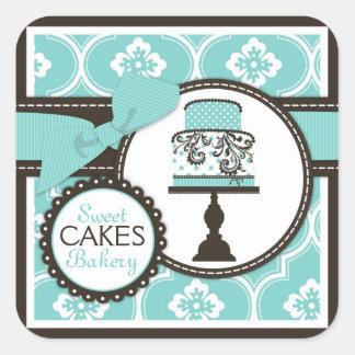 Süßer Kuchen-Aufkleber-Geschäfts-Aufkleber Turq Quadratischer Aufkleber