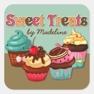 Süßer Leckerei-Kuchen-Aufkleber Quadratischer Aufkleber