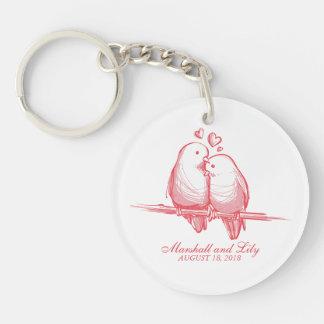 Süßer Lovebirds-Valentinsgruß, der Keychain Schlüsselanhänger