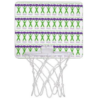 Süßer Mann-lustiger grüner und lila Slogan-Entwurf Mini Basketball Ring
