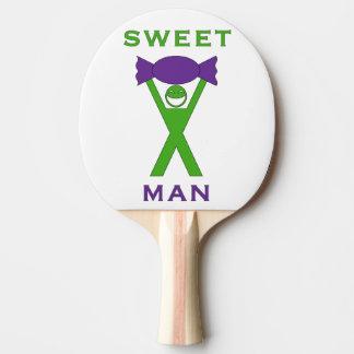 Süßer Mann-lustiger grüner und lila Slogan-Entwurf Tischtennis Schläger