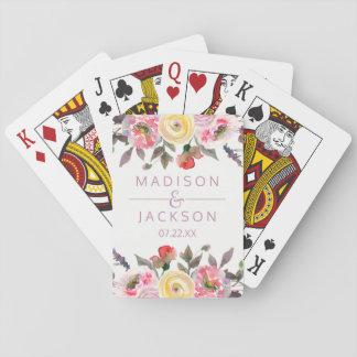 Süßer Rosewatercolor-BlumenGastgeschenk Hochzeit Spielkarten
