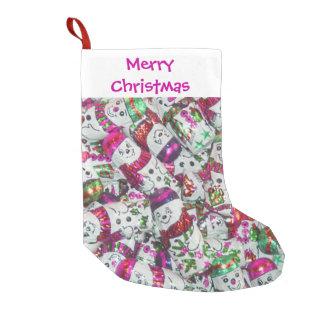 Süßer Strumpf der Snowmen-Rosa-frohen Weihnachten Kleiner Weihnachtsstrumpf