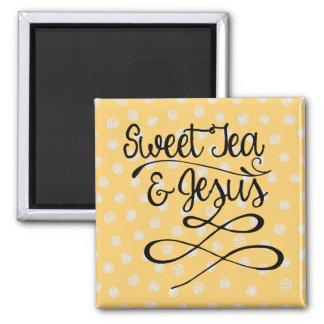 Süßer Tee u. Jesus Quadratischer Magnet