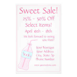 Süßer Verkauf - rosa Soda 14 X 21,6 Cm Flyer