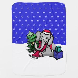 Süßer WeihnachtsCartoon-Elefant in Snowy-Winter Babydecke