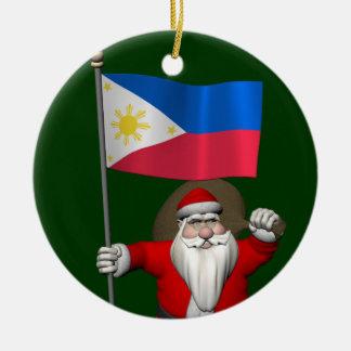 Süßer Weihnachtsmann mit Fahne der Philippinen Keramik Ornament
