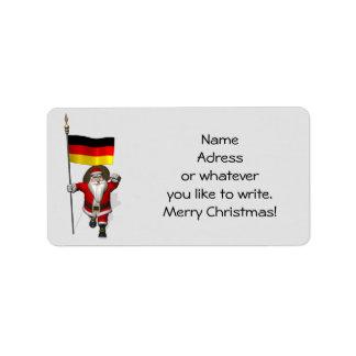 Süßer Weihnachtsmann mit Fahne von Deutschland Adress Aufkleber
