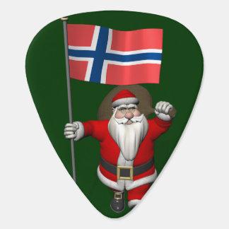 Süßer Weihnachtsmann mit Fahne von Norwegen Plektrum