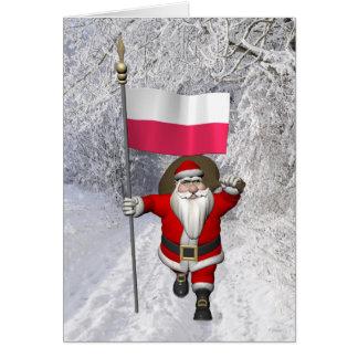 Süßer Weihnachtsmann mit Flagge von Polen Karte