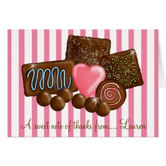 Süßes ChocolatesThank Sie Mitteilungskarten Karte