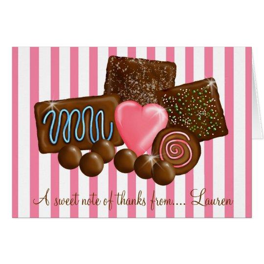 Süßes ChocolatesThank Sie Mitteilungskarten Mitteilungskarte