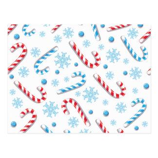 Süßes Christmassy Süßigkeits-Bar-Muster Postkarte