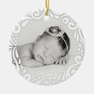 Süßes einfaches weißes kundenspezifisches Foto des Rundes Keramik Ornament